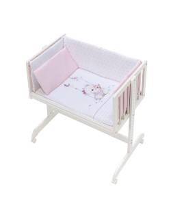 Minicuna Colecho bebé + Vestidura (Colcha-Cojín y Protector) + Colchon Oso Columpio rosa