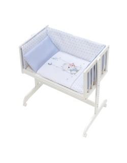 Minicuna Colecho bebé + Vestidura (Colcha-Cojín y Protector) + Colchon Oso Columpio azul