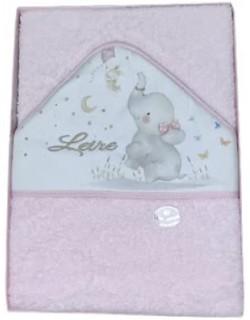 Toalla Capa de baño Bebe Personalizada con nombre bordado Elefante rosa Danielstore