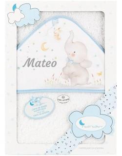 Toalla Capa de baño Bebe Personalizada con nombre bordado Elefante blanco azul Danielstore