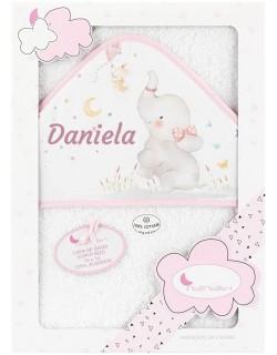 Toalla Capa de baño Bebe Personalizada con nombre bordado Elefante blanco rosa Danielstore