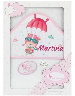 Toalla Capa de baño Bebe Personalizada con nombre bordado Paracaídas blanco rosa Danielstore