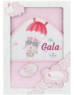 Toalla Capa de baño Bebe Personalizada con nombre bordado Paracaídas  rosa Danielstore