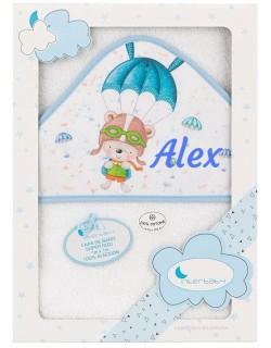 Toalla Capa de baño Bebe Personalizada con nombre bordado Paracaídas  blanco azul Danielstore