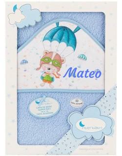 Toalla Capa de baño Bebe Personalizada con nombre bordado Paracaídas azul Danielstore