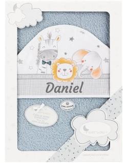 Toalla Capa de baño Bebe Personalizada con nombre bordado Paracaídas gris Danielstore