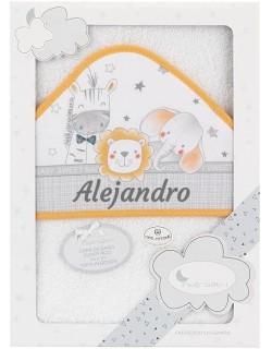 Toalla Capa de baño Bebe Personalizada con nombre bordado Paracaídas blanco naranja Danielstore