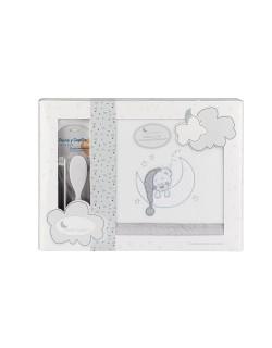 Sabanas Cuna Invierno Coralina 60X120  Bear Sleeping Regalo Juego de 2 Peines Color blanco gris...