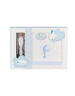 Sabanas Cuna Invierno Coralina 60X120  Bear Sleeping Regalo Juego de 2 Peines Color blanco azul...