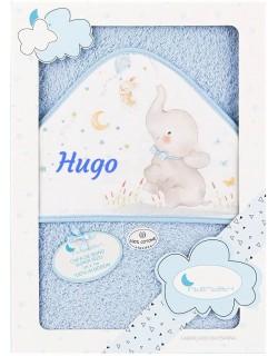 Toalla Capa de baño Bebe Personalizada con nombre bordado Elefante azul + Babero Personalizado...