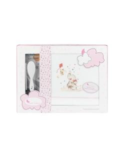 Sabanas Cuna Invierno Coralina 60X120  Elefante rosa Regalo Juego de 2 Peines .Color Bco rosa...